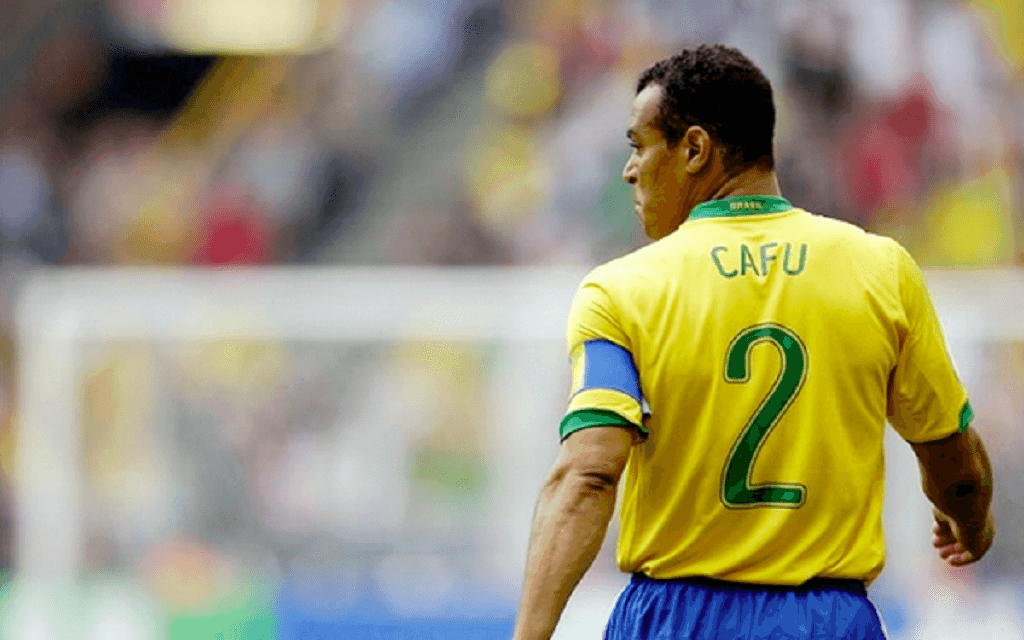 Cafu soccer player wearing his number two jersey while in a soccer game