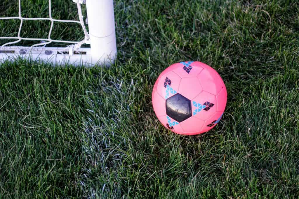 Pink soccer ball by a white soccer goal