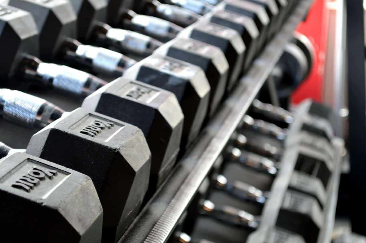 Weights at the gym for weight training