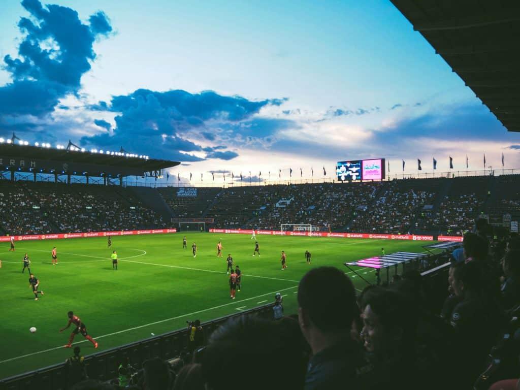 A soccer match in a stadium