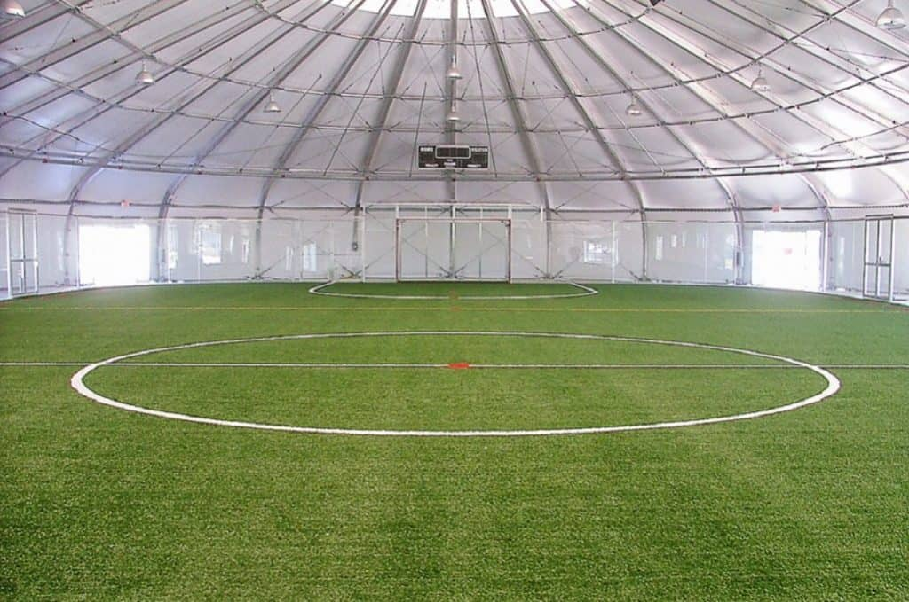 Field view of an indoor soccer stadium