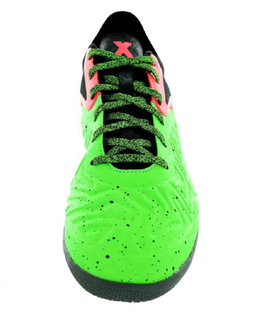 Top view of a green soccer shoe