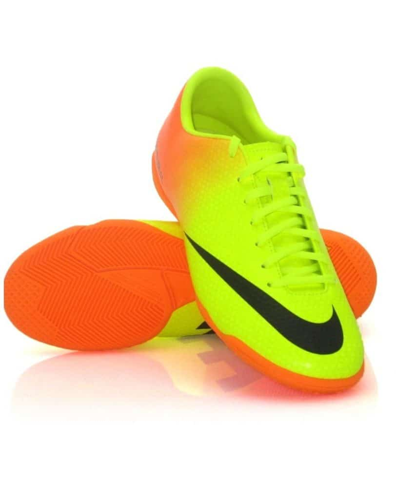 Yellow green and orange Nike indoor soccer shoe