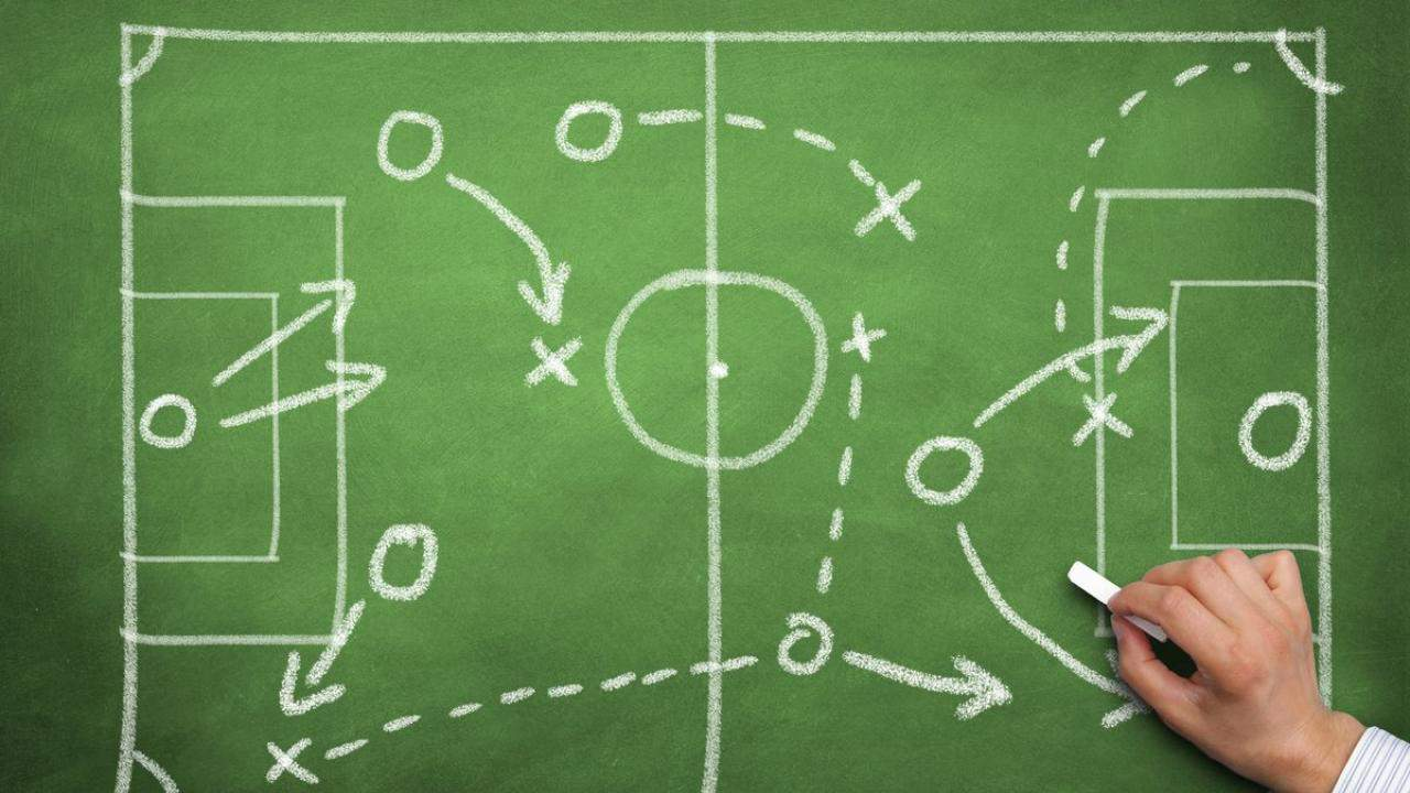 Drawing on a blackboard of soccer positions