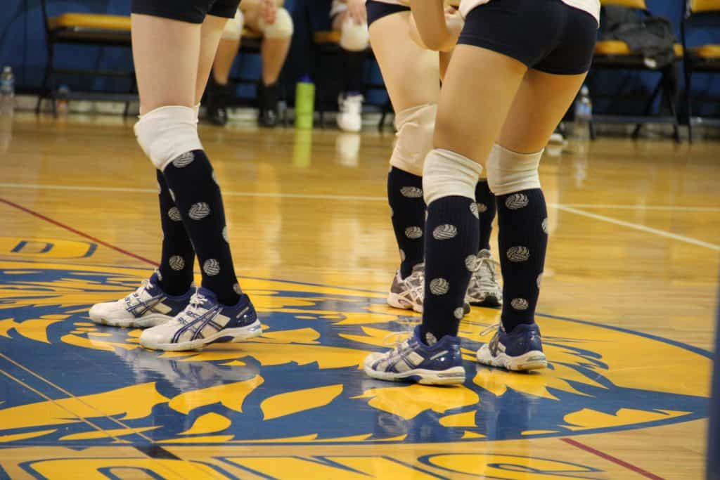 Close up of volleyball player footwear