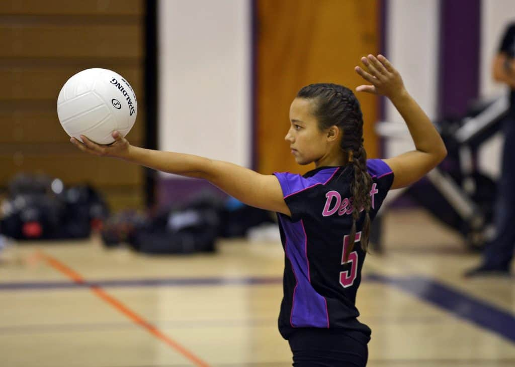 Volleyball player getting ready to hit the ball