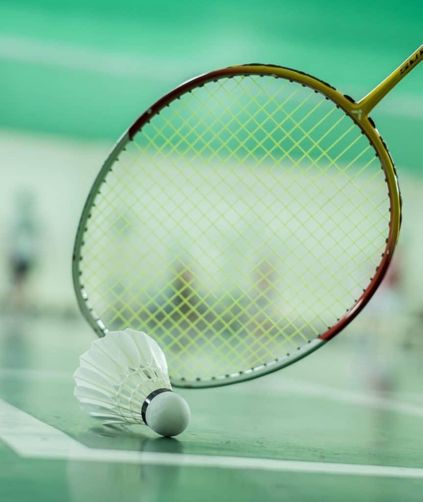 A badminton racket with a shuttlecock