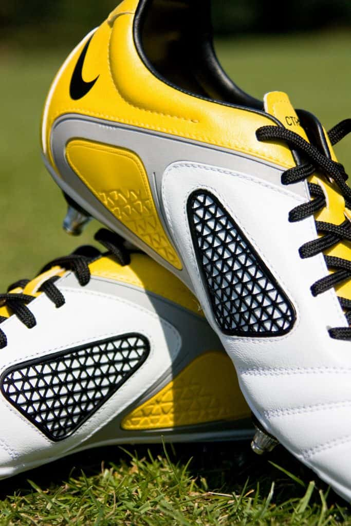 close up of some yellow Nike soccer cleats