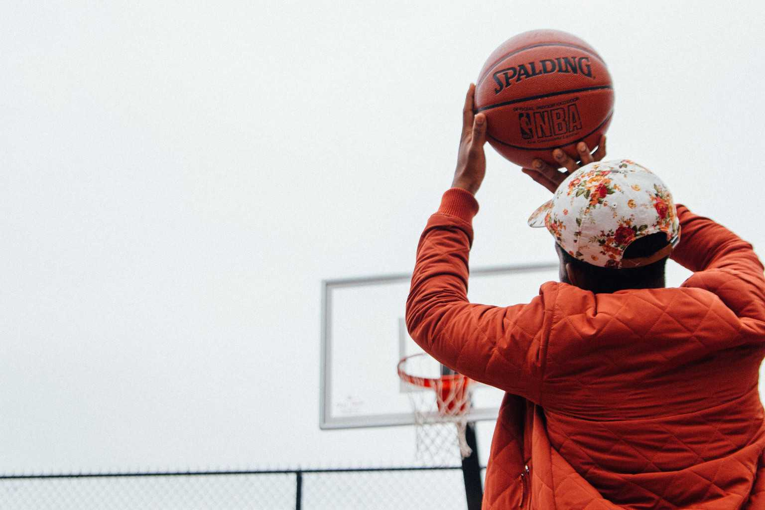 Man tries to shoot the basketball