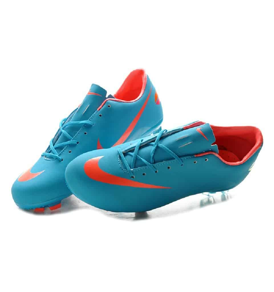 Blue Nike soccer cleats