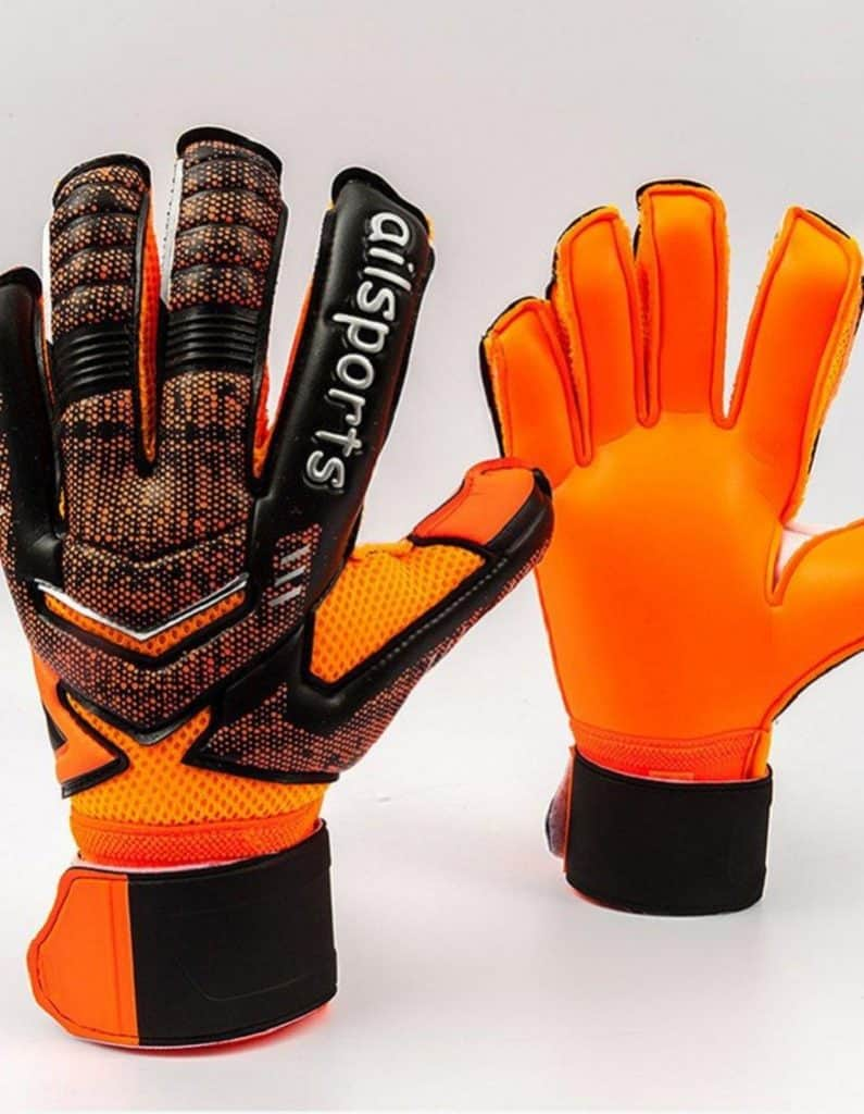 Orange and black goalkeeper gloves