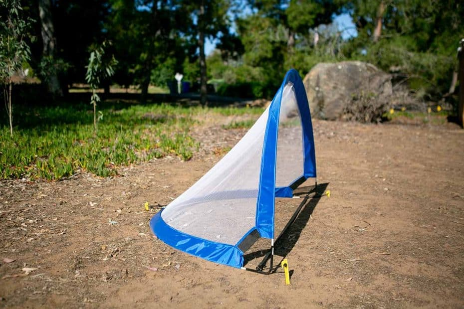 Side view of a soccer rebounder