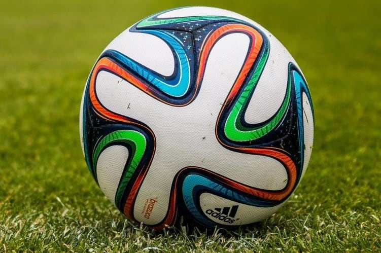 Close up of white soccer ball