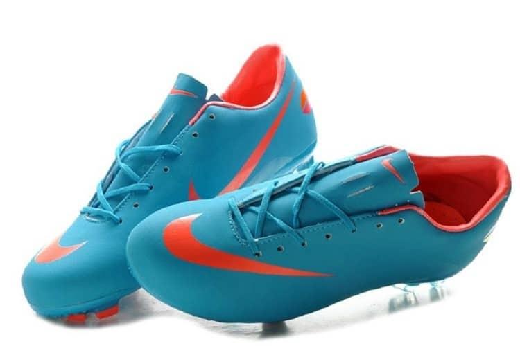 Blue Nike soccer cleats