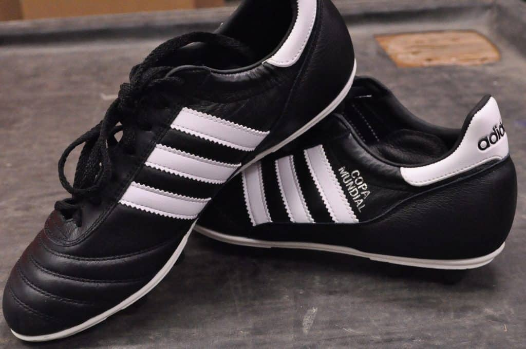 Close up of black Adidas Copa Mundial shoes