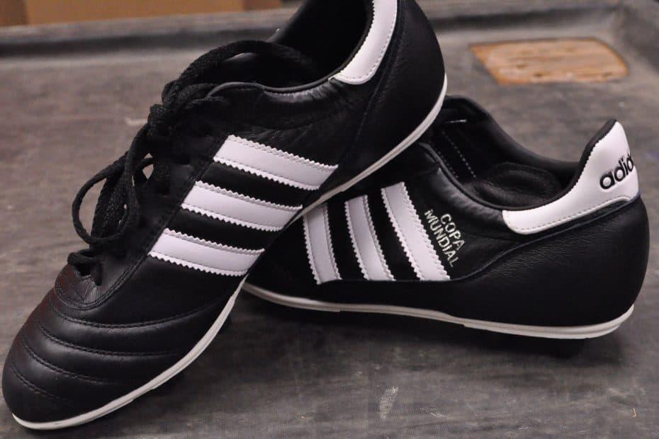 Close up of black Adidas Copa Mundial shoes