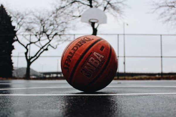 A basketball on an outdoor court