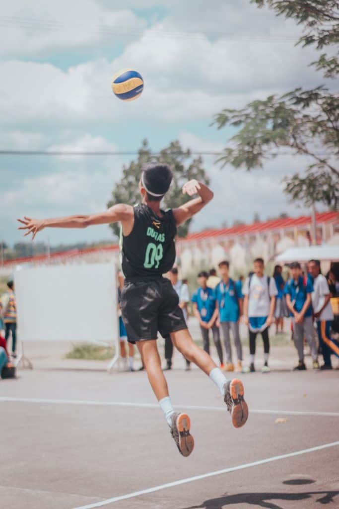 Volleyball player trying to hit the ball