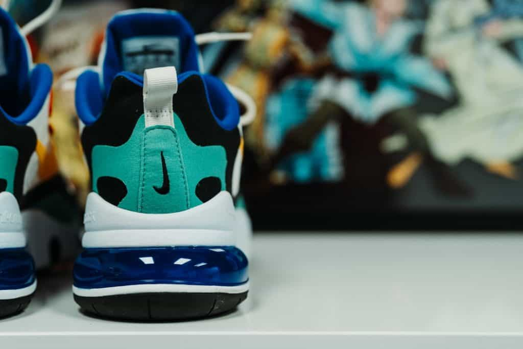 Back view of teal colored basketball shoes