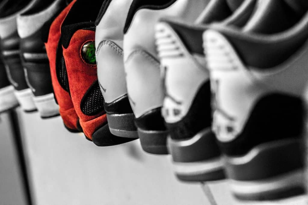 Multiple pairs of basketball shoes lined up