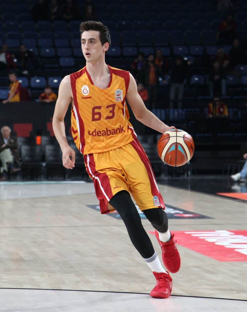 Basketball player about to pass the ball during a game