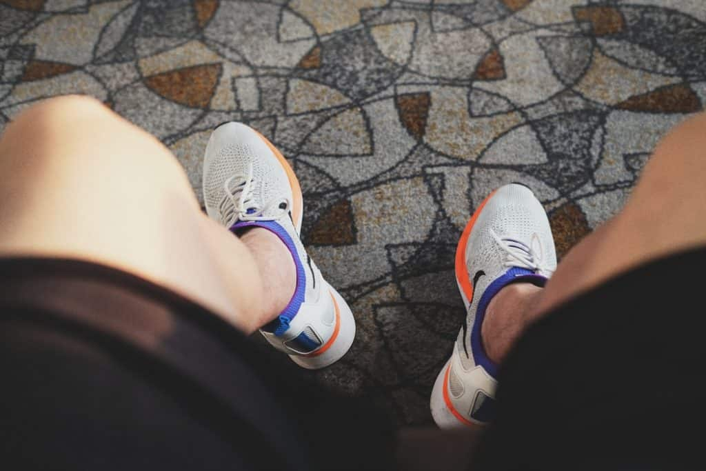 Person wearing basketball shoes