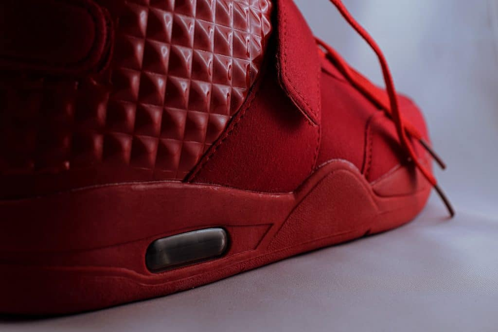 Close up of red basketball shoes