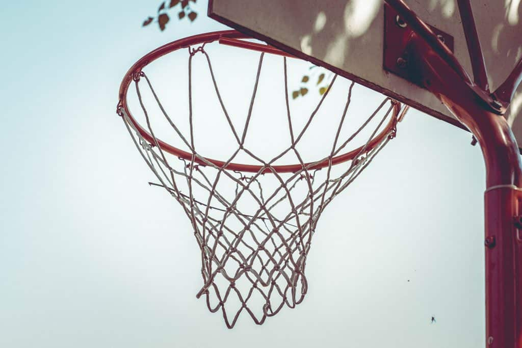 Rim close up of an in-ground basketball hoop