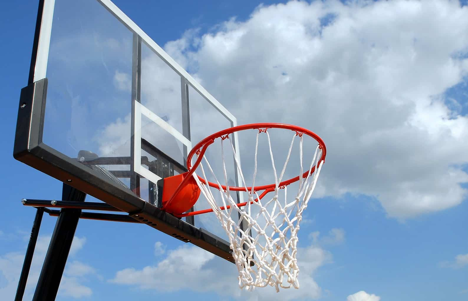 Backboard close up of an in-ground basketball hoop