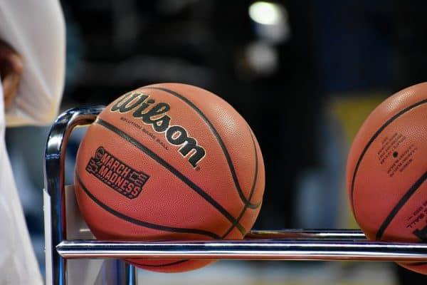 Indoor basketballs on a rack