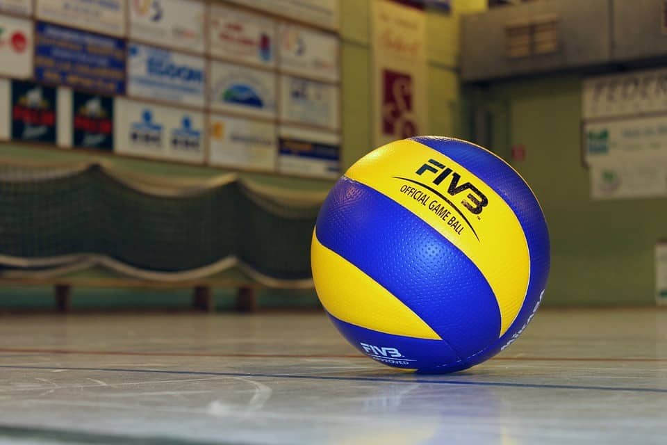 A volleyball on court