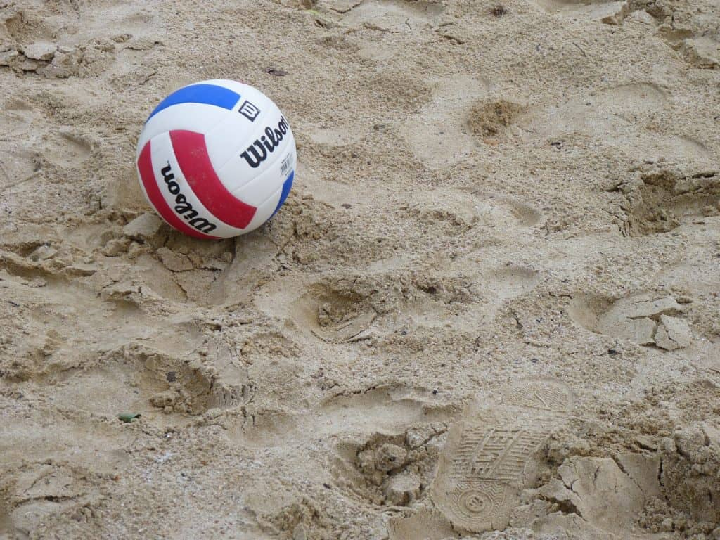 A volleyball on the beach