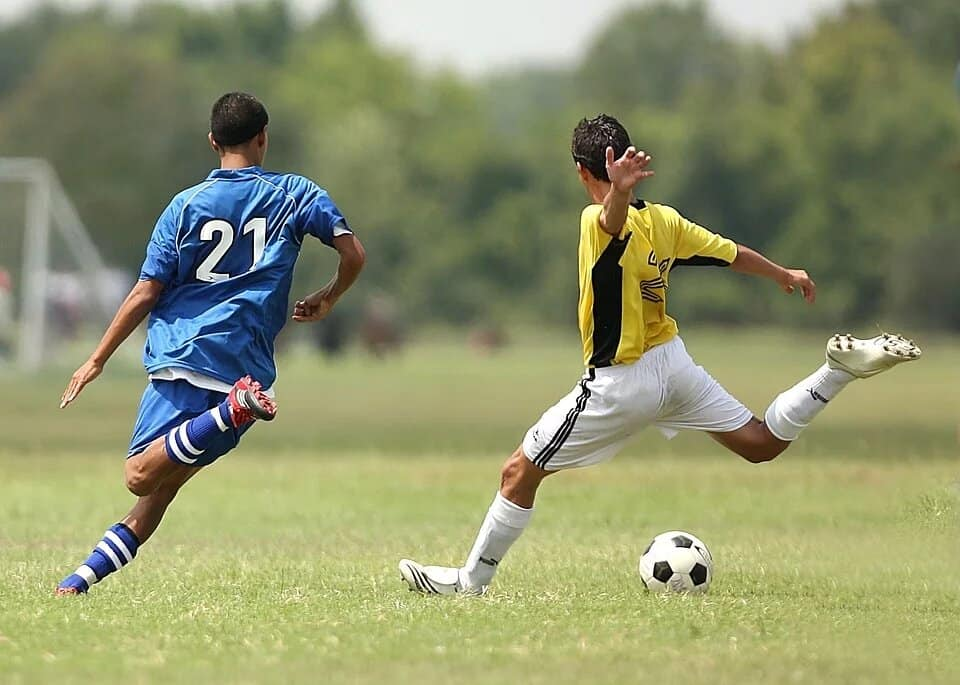 Soccer player aiming for the goal