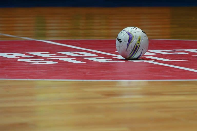 Volleyball ball placed on the gym floor