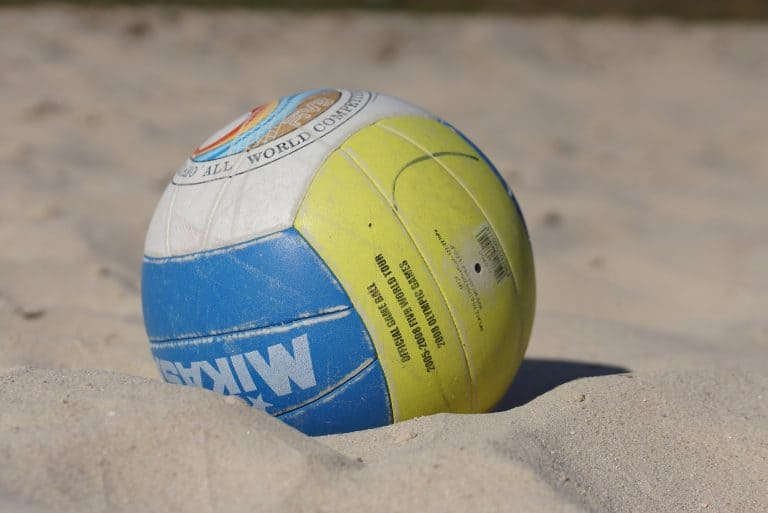 Close up of a volleyball ball on the beach sands