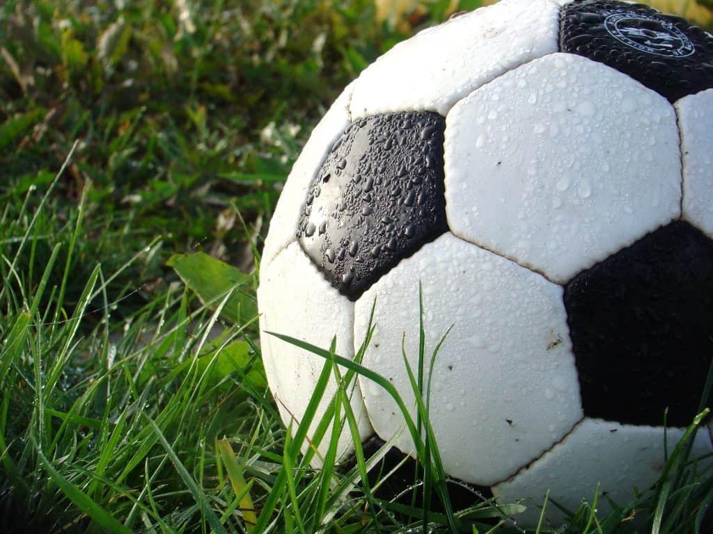 Wet soccer ball