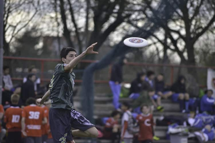 Player trying to catch a disc mid air
