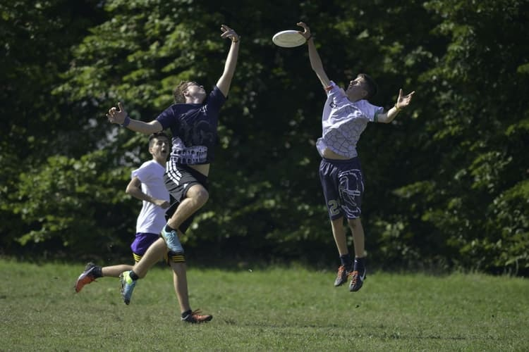 Players trying to catch a disc