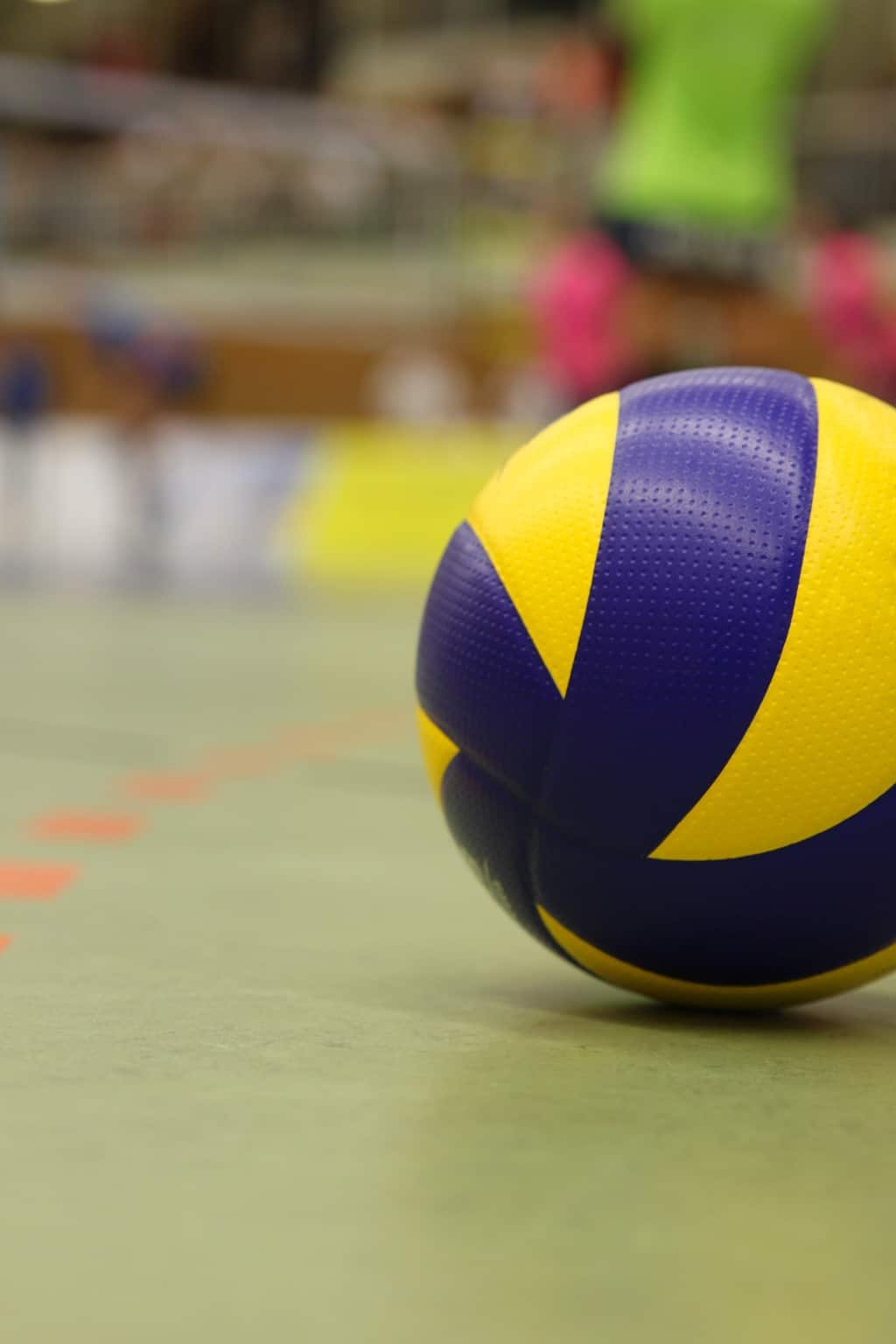 A close up shot of a volleyball