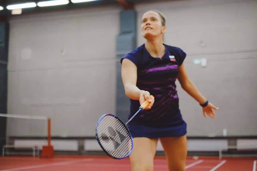 Woman holding a racket